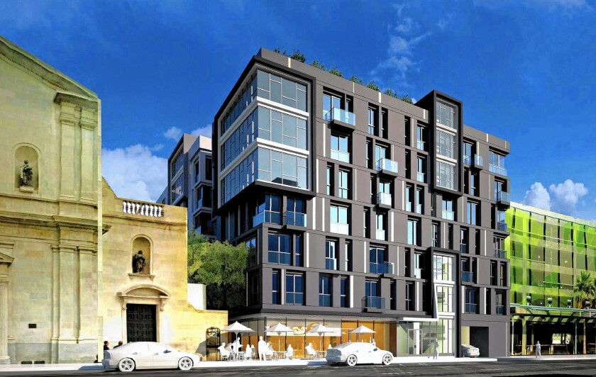 An eight-story, 237-unit apartment building is set to rise next to the former St. Vibiana's Cathedral in downtown Los Angeles on the lot where the Union Rescue Mission once served thousands of homeless men and women.