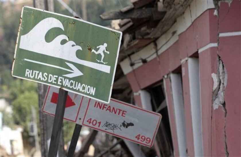 """A sign reading in Spanish: """"Evacuation Routes"""" is seen at at street in Constitucion, Chile, Tuesday, March 2, 2010. The 8.8-magnitude earthquake that struck central Chile early Saturday, Feb. 27, killed hundreds of people and caused widespread damage. (AP Photo/ Luis Hidalgo)"""