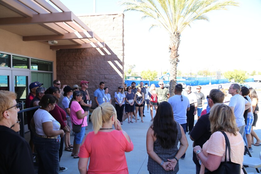 Attendees at the Saddleback Church fall festival held recently at the Canyon Crest Academy campus for area families.