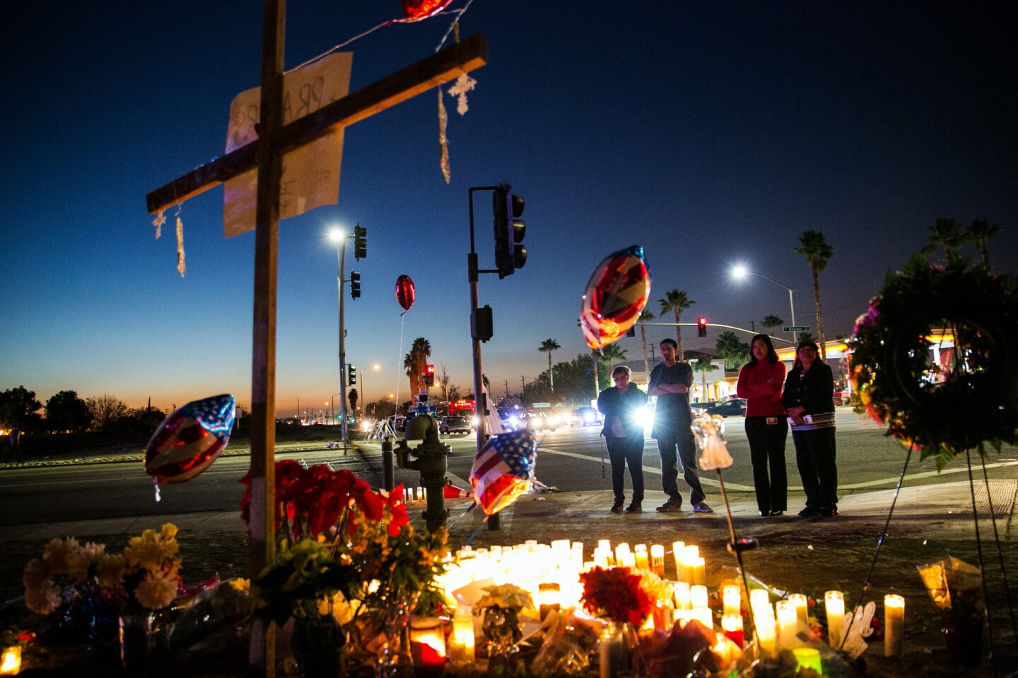 A memorial site for the victims of the mass shooting in San Bernardino, Calif., on Dec. 4, 2015.