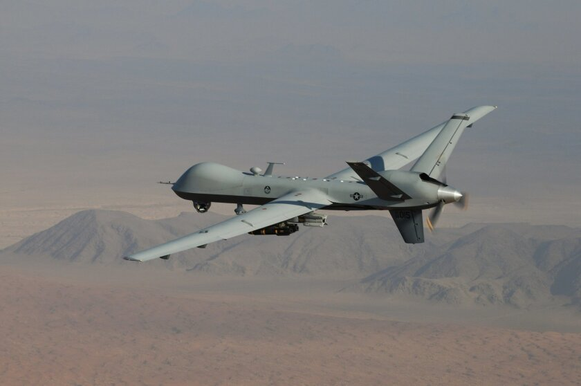 An MQ-9 Reaper drone in Afghanistan made by Poway's General Atomics Aeronautical Systems.