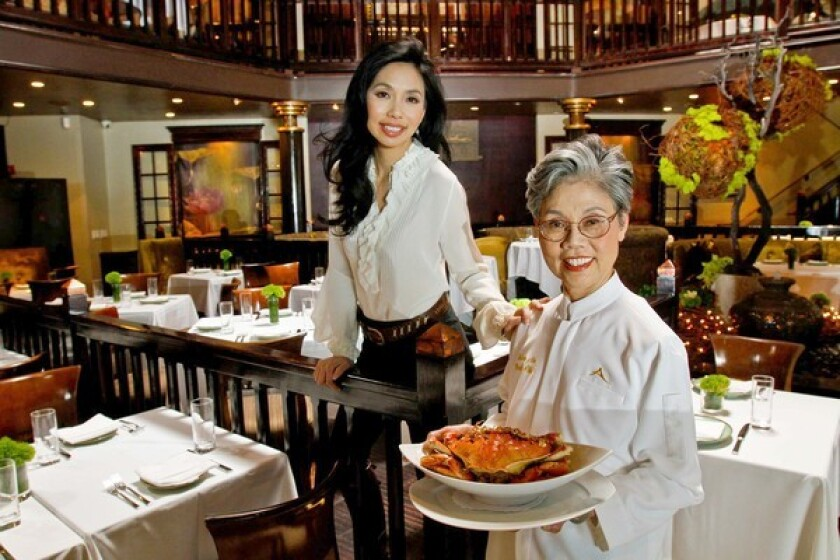 Elizabeth An, left, with her mother, Helena An, at Crustacean in Beverly Hills, part of a small empire of upscale restaurants the family owns.