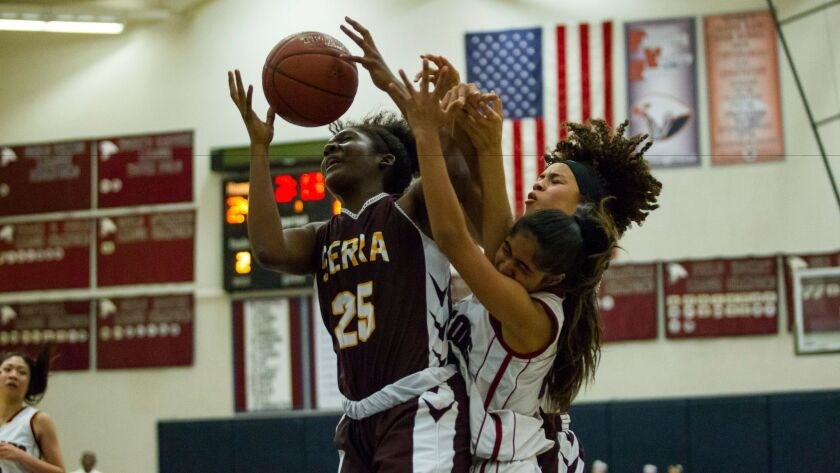 Serra senior Monique Smith (25) had 14 points and 10 rebounds in her final game with the Conquistadors.