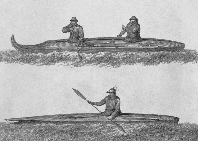 Eskimo boats, engraving from a drawing by John Webber (1750-93) from an account of the last voyage of James Cook (1728-79), undertaken between 1776 and 1779. Aleutian Islands, 18th century.