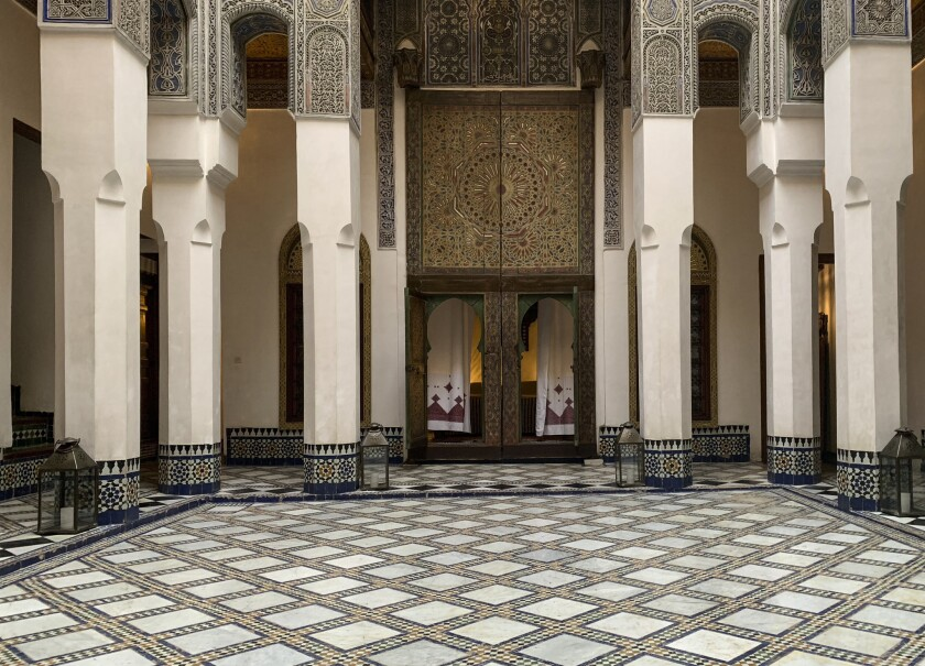 FEZ, MOROCCO - The marble courtyard at Dar Saffarine, a restored 600-year-old residence that now ope