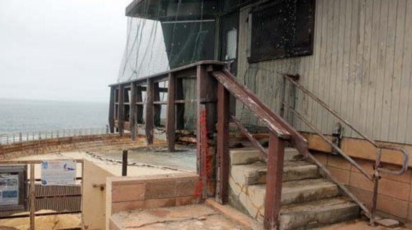 The condemned lifeguard tower at La Jolla's Children's Pool has become a haven for birds and rats. Photo: Dave Schwab