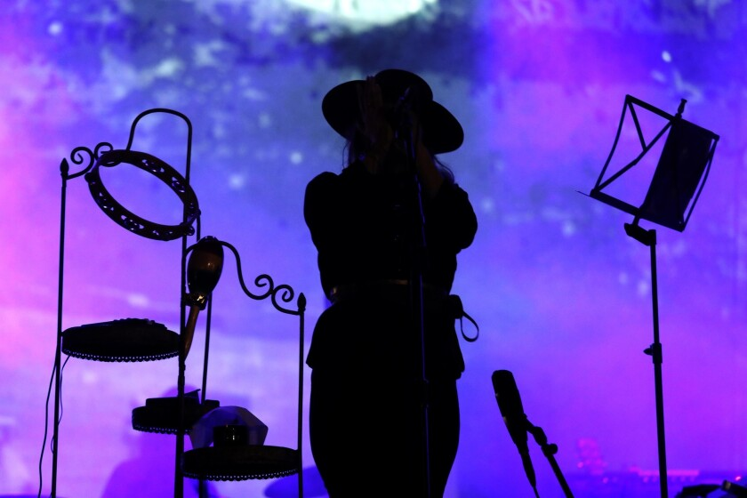 LONG BEACH, CA ? NOVEMBER 3, 2018 - - Mazzy Star preferred to perform in silhouette at the Tropicali