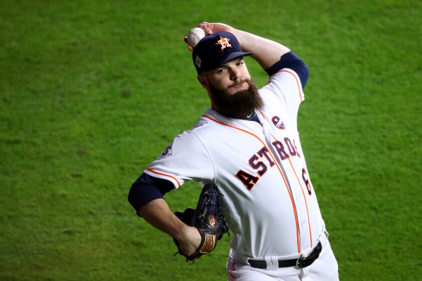 Dallas Keuchel warms up for the Astros before Game 5 of the 2017 World Series against the Dodgers.