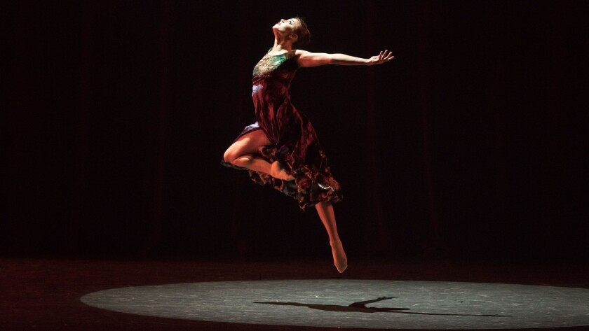 "Leah McCall dances her solo in ""Untouched,"" one of three pieces in Los Angeles Ballet's season-opening program."