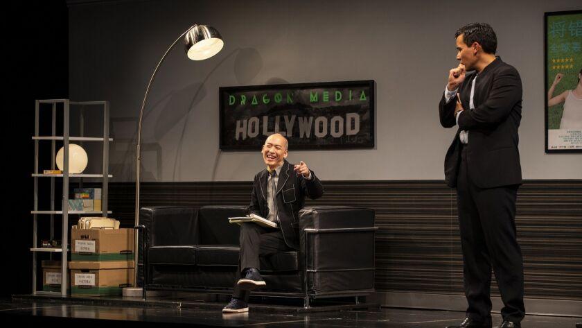 LOS ANGELES, CA - MAY 2, 2018: Francis Jue as David Henry Hwang, left, with Conrad Ricamora as Xue X