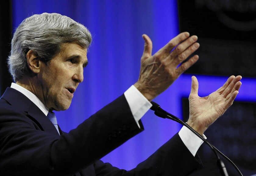 """Secretary of State John F. Kerry delivers a speech at the World Economic Forum in Davos, Switzerland, where he said that """"it is a myth that we are pulling back or giving up or standing down [in the Mideast].... Nothing could be further from the truth."""""""