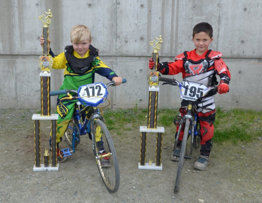 Drake Richardson and Quinn Parker show off their trophies.  Courtesy