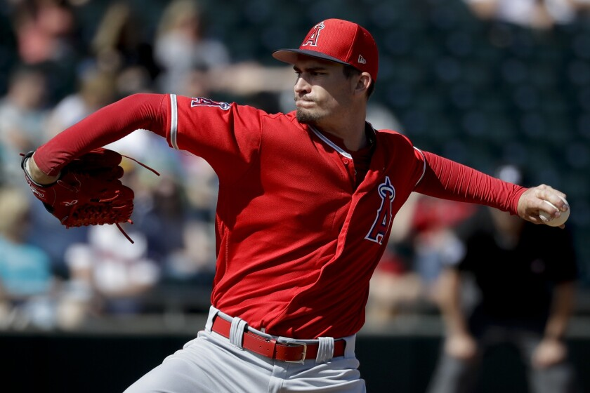 Los Angeles Angels starting pitcher Andrew Heaney throws against the Oakland Athletics during the fi