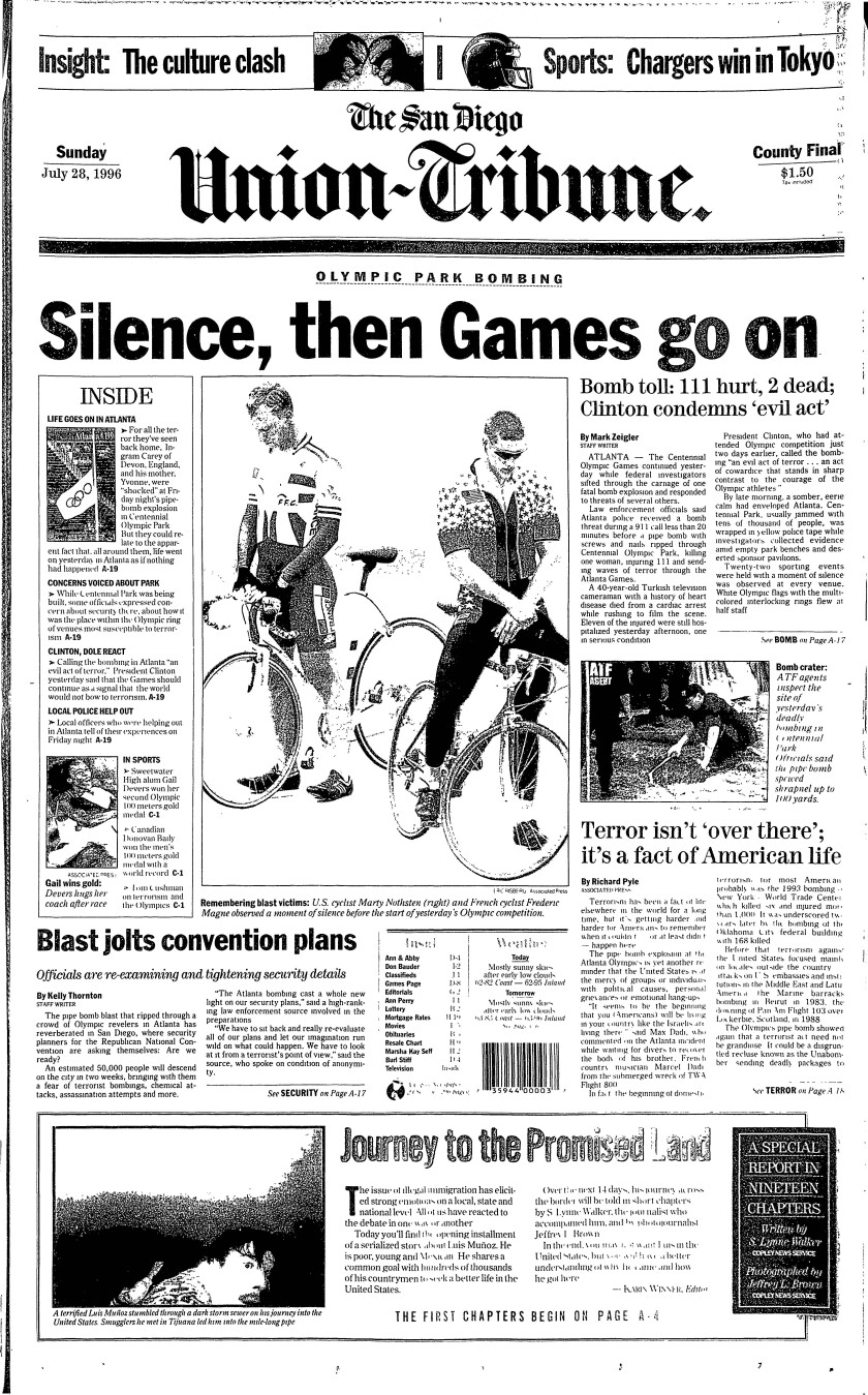 Front page of The San Diego Union-Tribune, July 28, 1996, reporting on the Olympic Park Bombing in Atlanta.