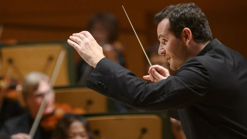 Lionel Bringuier, L.A. Phil's former associate conductor, conducts the orchestra in their first show