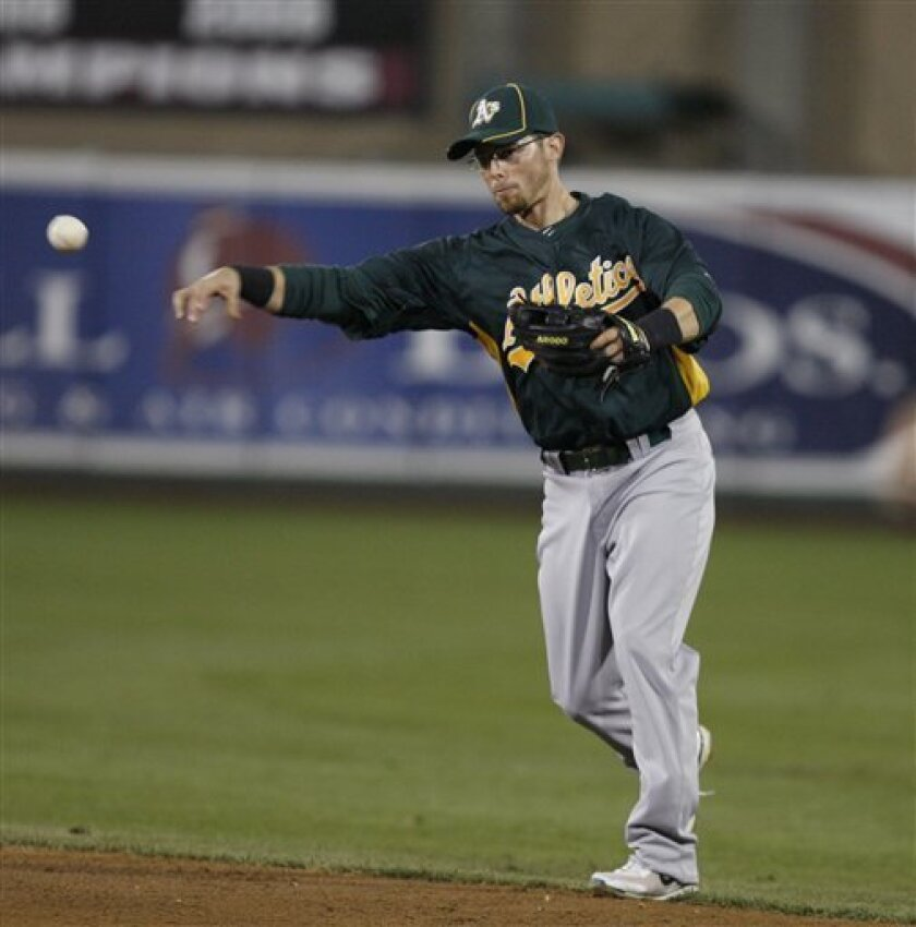 Oakland Athletics second baseman Eric Sogard throws a runner out at first base during an exhibition baseball game against Triple-A Affiliate the Sacramento River Cats in Sacramento, Calif., Saturday, March 31, 2012 (AP Photo/Steve Yeater)