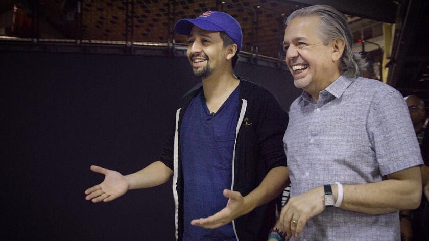 "Lin-Manuel Miranda, left, and Luis Miranda in ""Siempre, Luis"" on HBO."
