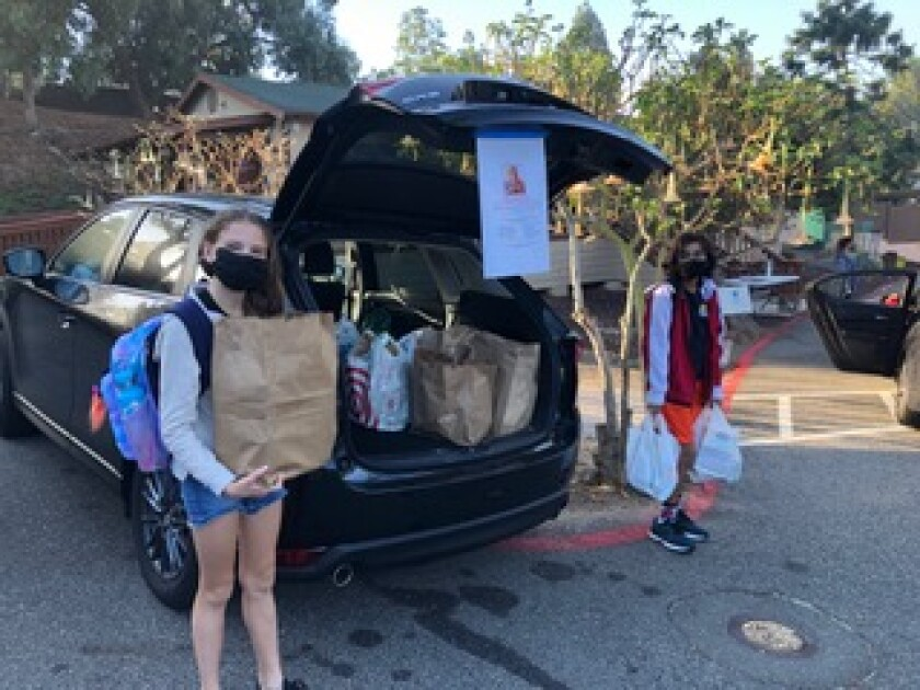 Students collected food