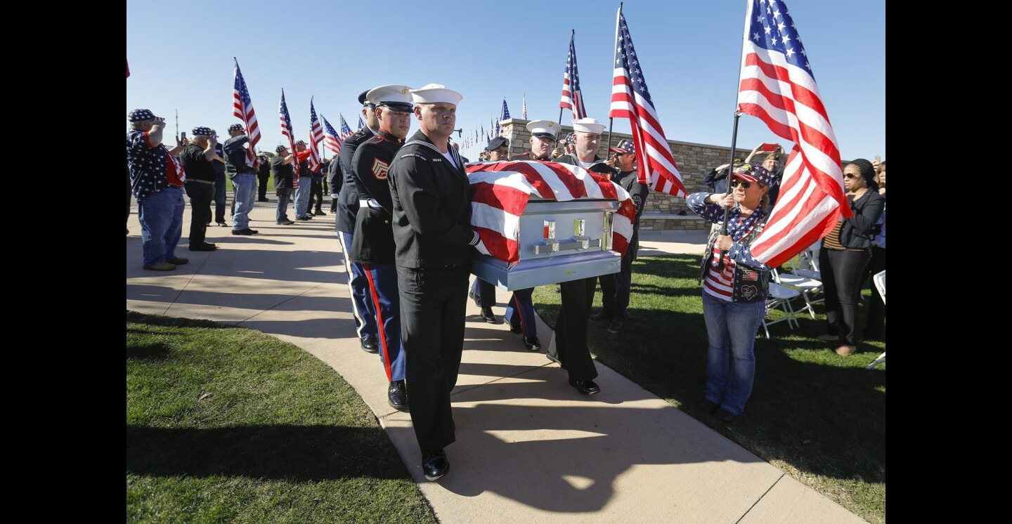 The body of Navy veteran Ray Chavez, until his death on November 21, at 106-years-old, was the oldest living survivor of the attack on Pearl Harbor, on December 7, 1941, arrives at Miramar National Cemetery for his interment ceremony.