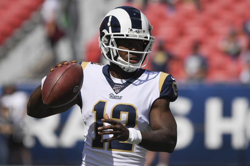 FILE - In this Sunday, Sept. 29, 2019 file photo, Los Angeles Rams wide receiver Brandin Cooks warms up before an NFL football game against the Tampa Bay Buccaneers in Los Angeles. Los Angeles Rams receiver Brandin Cooks won't play in Sunday's game against Pittsburgh while he seeks further medical help for his second concussion in a month. Cooks was ruled out by Rams coach Sean McVay on Wednesday, Nov. 6, 2019. (AP Photo/Mark J. Terrill, File)