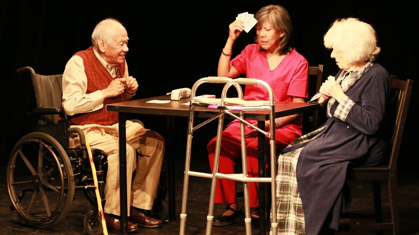 """Tita Pambid, center, stars as Nene, the proprietor of a senior care facility whose residents include Poncing (Muni Zano) and Mildred (Anita Borcia) in """"As Straw Before the Wind."""""""