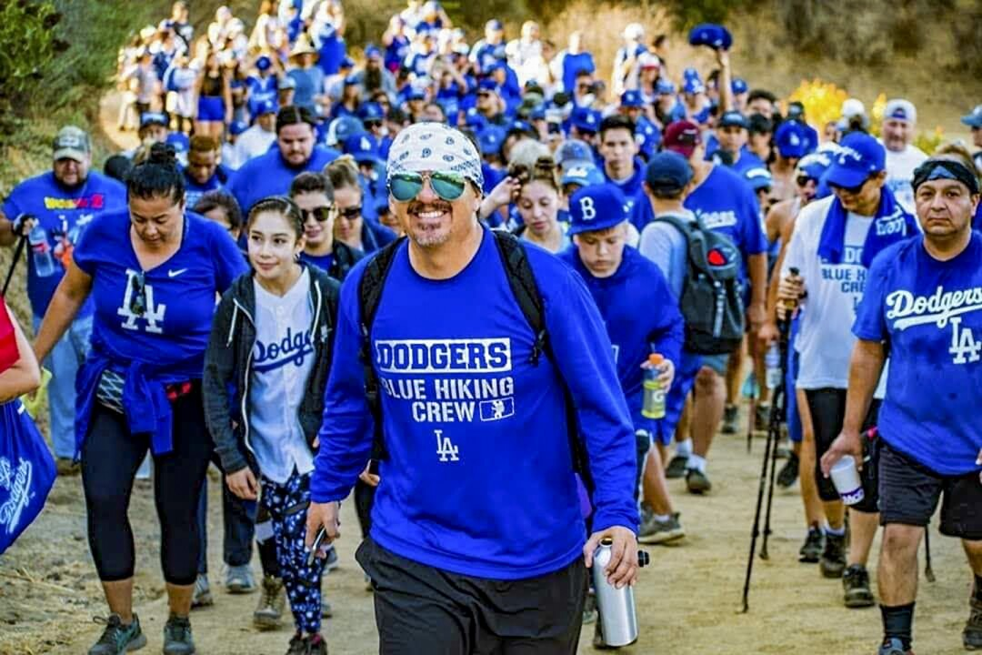 Dodgers Blue Hiking Crew hiking at Griffith Park.