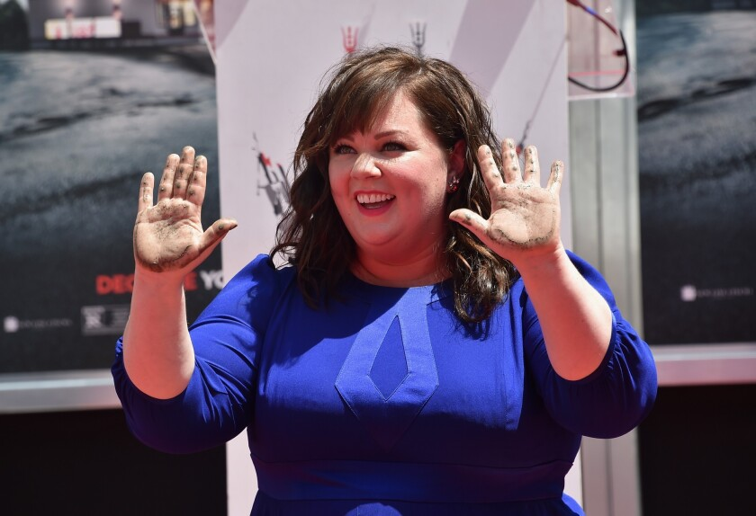 Melissa McCarthy leaves her handprints in front of the TCL Chinese Theatre, earlier this month on July 2, 2014.