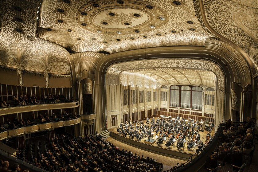 The Cleveland Orchestra conducted by Ingo Metzmacher perform at Severance Hall in Cleveland, Ohio.