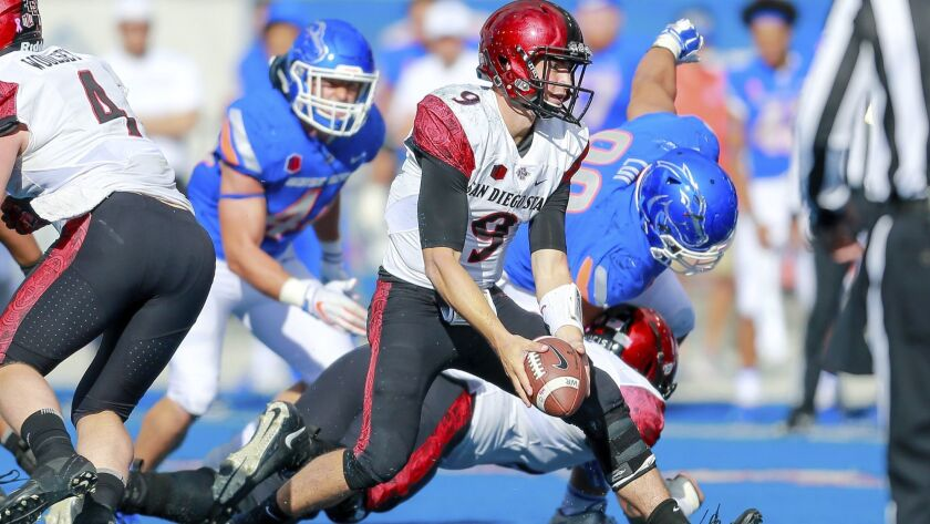 San Diego State quarterback Ryan Agnew, center, turns to toss the ball against Boise State during the second half on Saturday. San Diego State won 19-13.