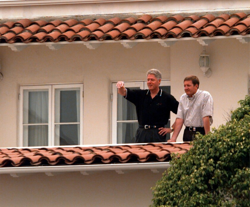 President Clinton visits Ron Burkle at the billionaire's Santa Monica beach house in 1997. Burkle told The Times this week in a rare interview that he's still fond of Bill Clinton, though he's skeptical of Hillary Clinton's candidacy.