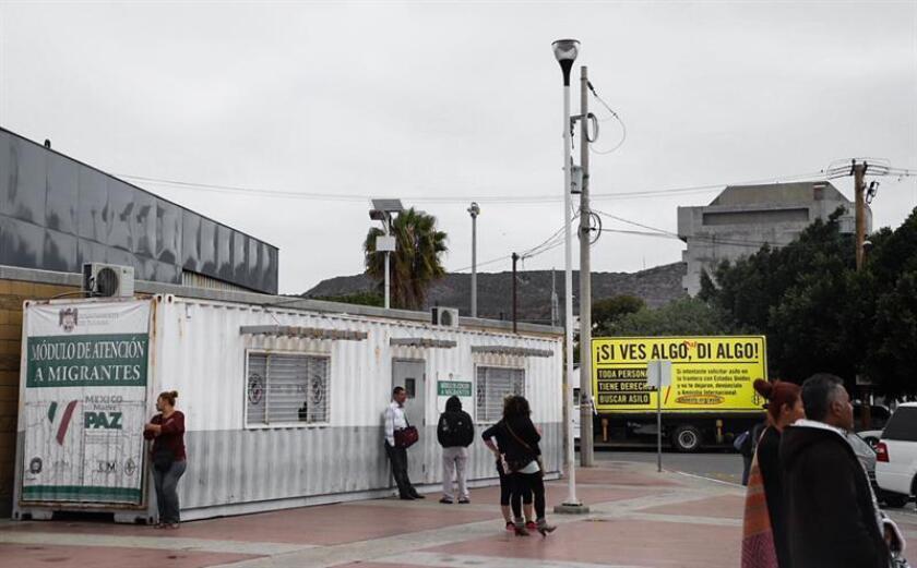 Fotografía cedida hoy, jueves 26 de abril de 2018, por Amnistía Internacional (AI), de un puesto de atención a migrantes en Tijuana, Baja California (México). EFE/AI/SOLO USO EDITORIAL/NO VENTAS