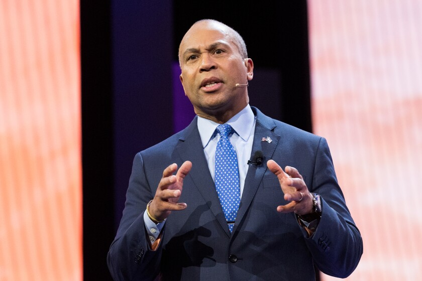 Deval Patrick, former governor of Massachusetts, speaks at a conference in Washington in 2018. On Nov. 14, he announced he is jumping into the race for the Democratic presidential nomination.
