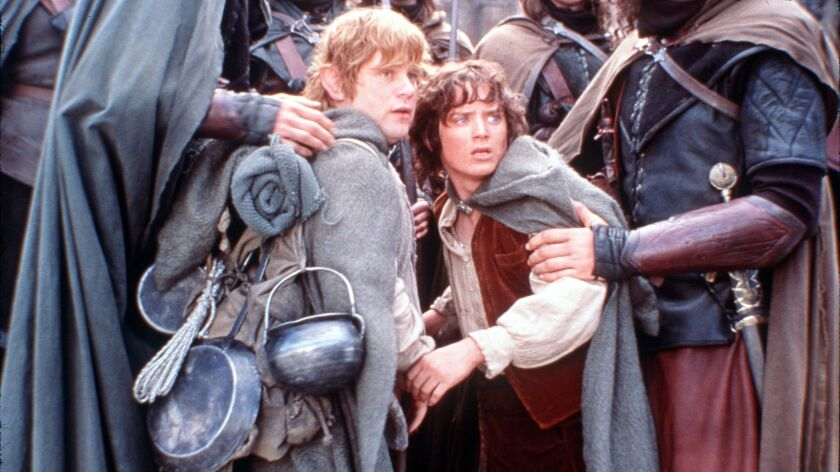 """""""Sam"""" (Sean Austin) and """"Frodo"""" (Elijah Wood) in the central film of New Line Cinema's epic adventure trilogy, """"The Lord of the Rings: The Two Towers."""""""