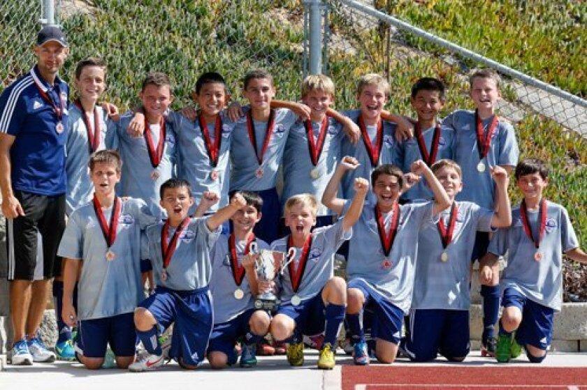 DMCV Sharks BU13 Gold champions at Nott's Forest Labor Day Soccer Tournament