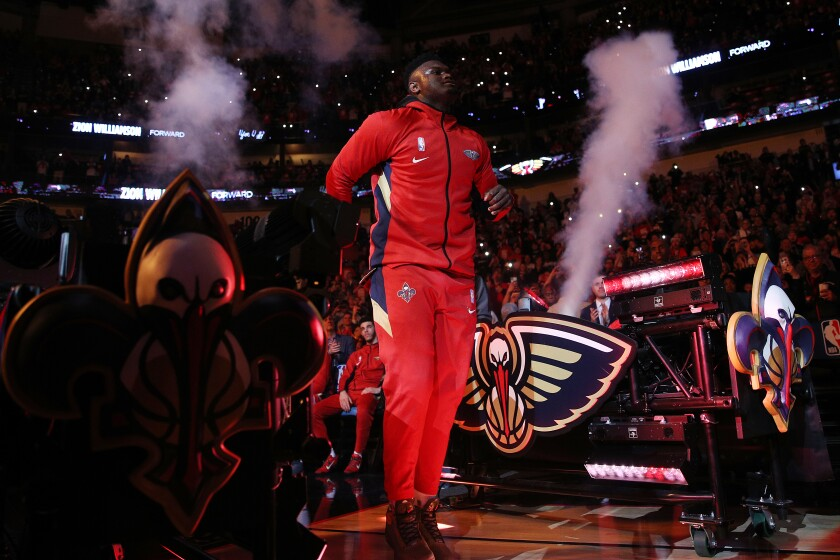 Pelicans rookie Zion Williamson is introduced before his debut game against the Spurs on Jan. 22, 2020, in New Orleans.