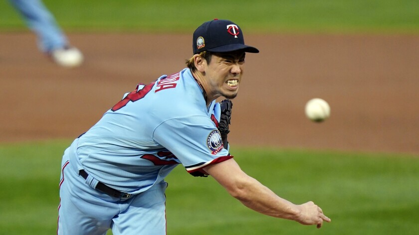 Former Dodger Kenta Maeda pitches for the Minnesota Twins on Sept. 23.