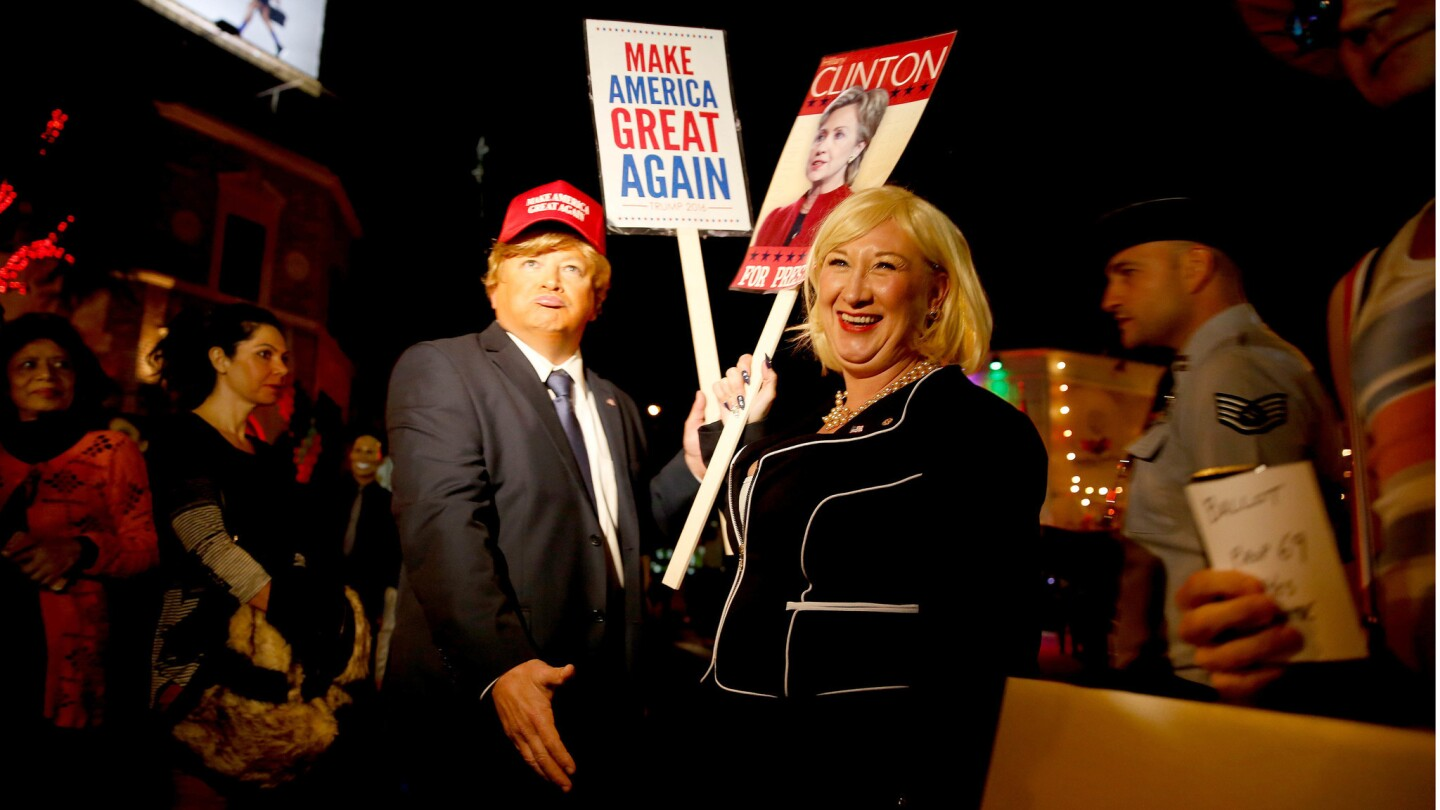 David Goldbach dresses up as Donald Trump, and Wanda Jackson is Hillary Rodham Clinton. Both are from El Segundo.