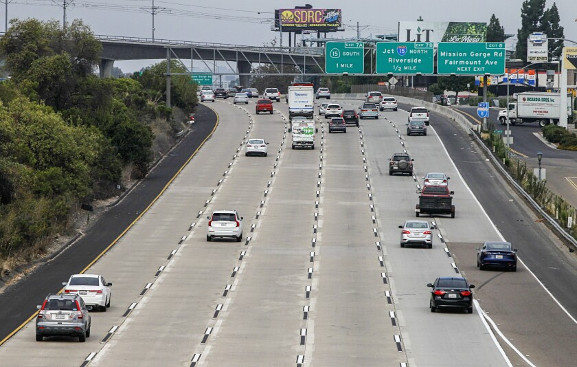 A relatively empty freeway in San Diego County