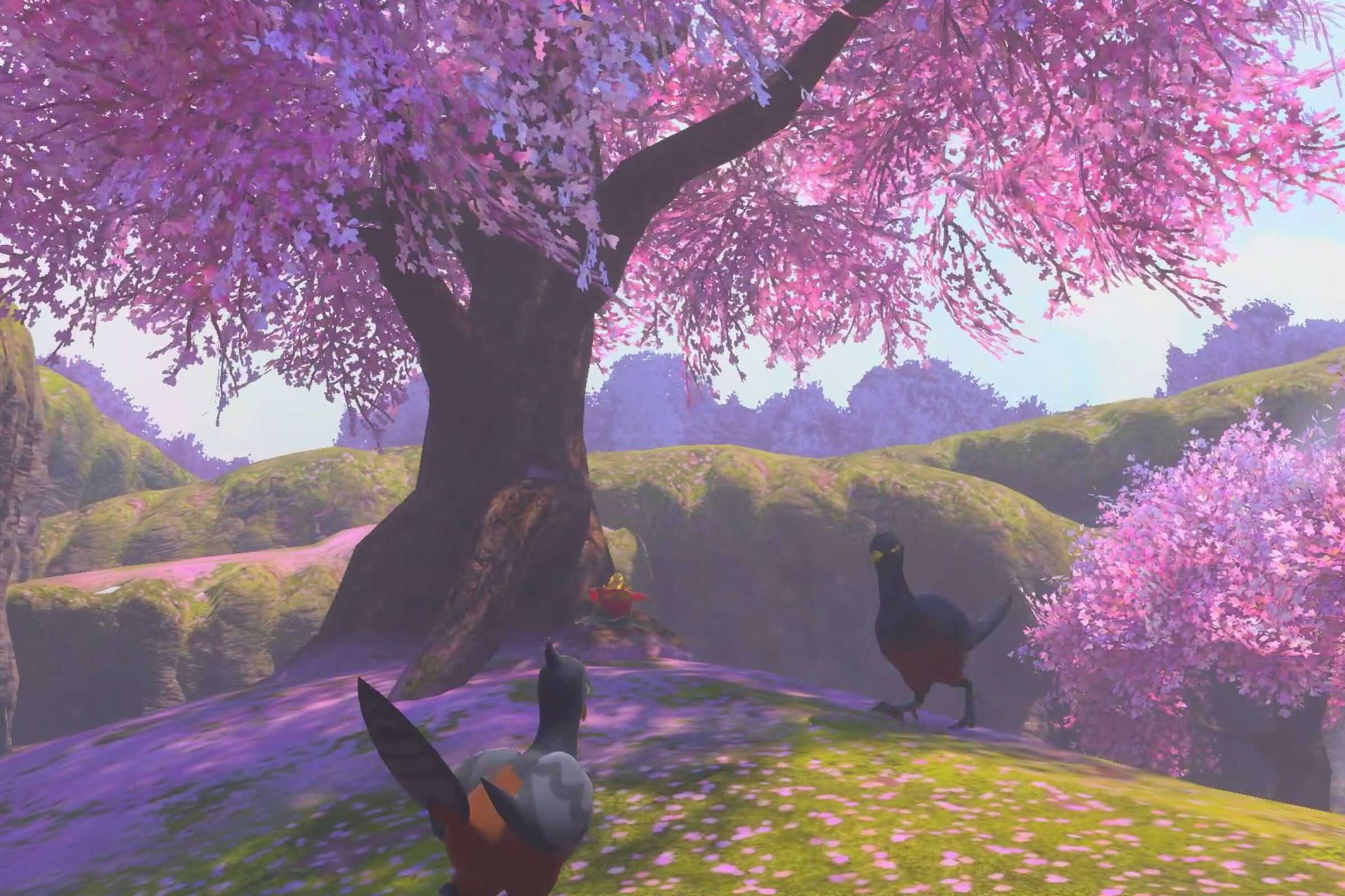 "Birds strut among flowering trees in the ""New Pokémon Snap"" game."