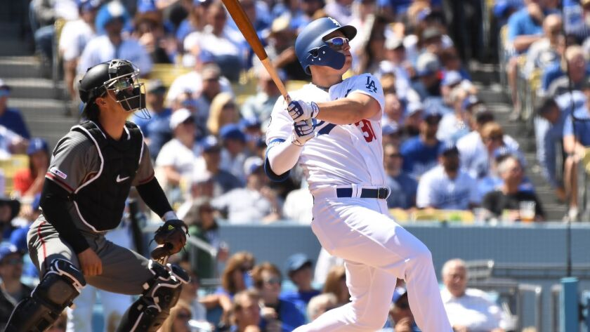 LOS ANGELES, CALIFORNIA MARCH 25, 2019-Dodgers Joc Pederson hits a two-run home run against the Diam