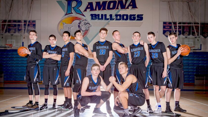 Ramona High School's 2016-17 varsity boys basketball team: Division II Valley League champions.