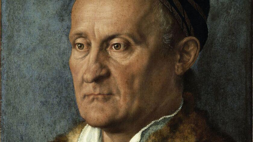 """A detail from Albrecht Durer's """"Portrait of Jakob Muffel,"""" 1526."""