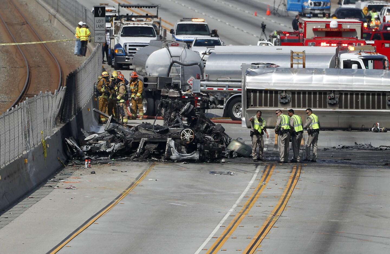 Two dead in fiery tanker truck crash on 105 Freeway