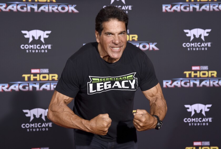 """FILE - In this Tuesday, Oct. 10, 2017, file photo, Lou Ferrigno arrives at the world premiere of """"Thor: Ragnarok"""" at the El Capitan Theatre in Los Angeles. Ferrigno, the actor in the CBS television series """"The Incredible Hulk,"""" is slated to become a sheriff's deputy in New Mexico. (Photo by Chris Pizzello/Invision/AP, File)"""