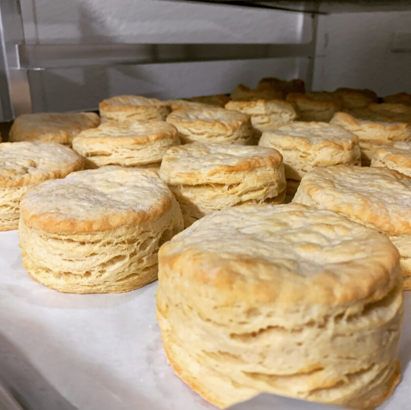 A tray of fresh-baked biscuits at Sunnyboy Biscuit Co. in Hillcrest, which chef/owner Gabriel Ferguson opened on March 17, the same day the county enacted takeout-only rules for San Diego restaurants due to COVID-19. Despite the challenges, Ferguson said business has been very good.