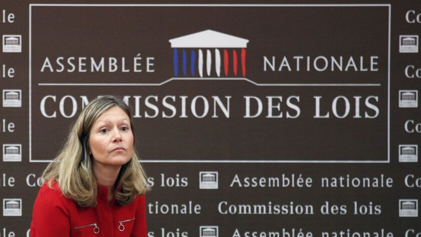 President of the Laws Commission Yael Braun Pivet waits fro the arrival of French Interior Minister