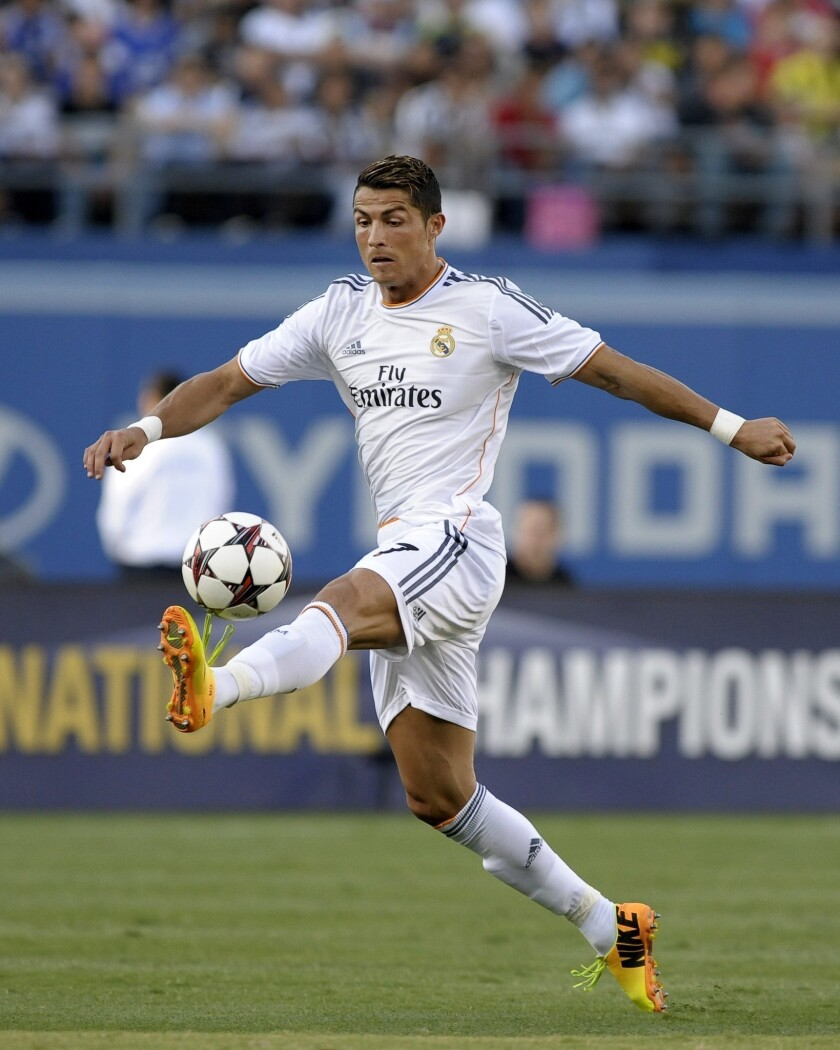 Cristiano Ronaldo controls the ball during Real Madrid's win over Everton in the Interational Champions Cup at Dodger Stadium on Saturday.