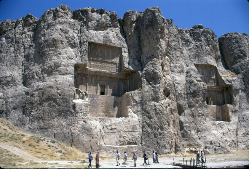 The royal tombs of Naqsh-e-Rustam, carved into stony mountains, go back to Achaemenid Dynasty, as much as 2,500 years ago.