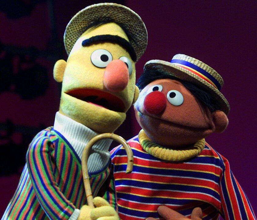 """Muppets Bert, left, and Ernie of the children's program """"Sesame Street."""""""
