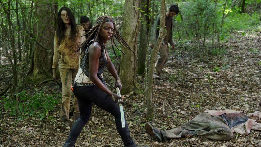 "Danai Gurira as Michonne in a scene from episode 3 season 6 of ""The Walking Dead."" Credit: Gene Page"